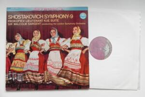 Shostakovich - Symphony No. 9  / Prokofiev - Liutenant Kije Suite - Malcolm Sargent & The London Symphony Orchestra  --  LP 33 giri Made in USA in 35 mm - Stampa Originale del 1960