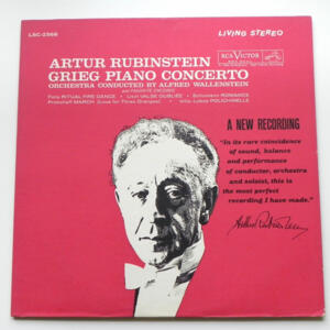 Grieg PIANO CONCERTO AND FAVORITES ENCORE / Artur Rubinstein / Orchestra conducted by A. Wallenstein-  LP 33 giri - Made in USA