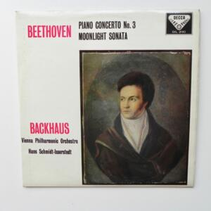 Beethoven Piano Concerto No. 3 MOONLIGHT SONATA / Backhaus - Vienna Philharmonic Orchestra conducted by Hans Schmidt-Isserstedt  -- LP 33 giri - Made in UK
