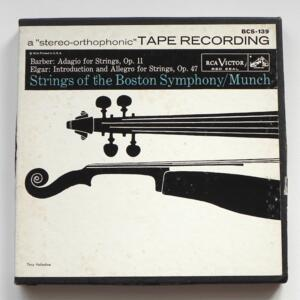 Barber ADAGIO - Elgar - INTRODUCTION & ALLEGRO / Strings of the Boston Symphony - Munch / RCA - BCS-139 - Nastro Magnetico Registrato su bobina da 18 cm - 2 tracce - Velocità 19 cm/sec - Originale