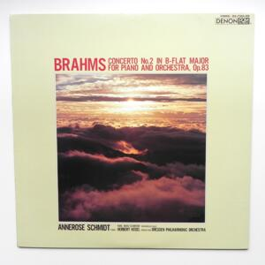 Brahms CONCERTO NO. 2 FOR PIANO AND ORCHESTRA / Dresden Philharmonic Orchestra  conductor H. Kegel  --  LP 33 rpm - Made in Japan - DENON - OX-7204-ND - OPEN LP